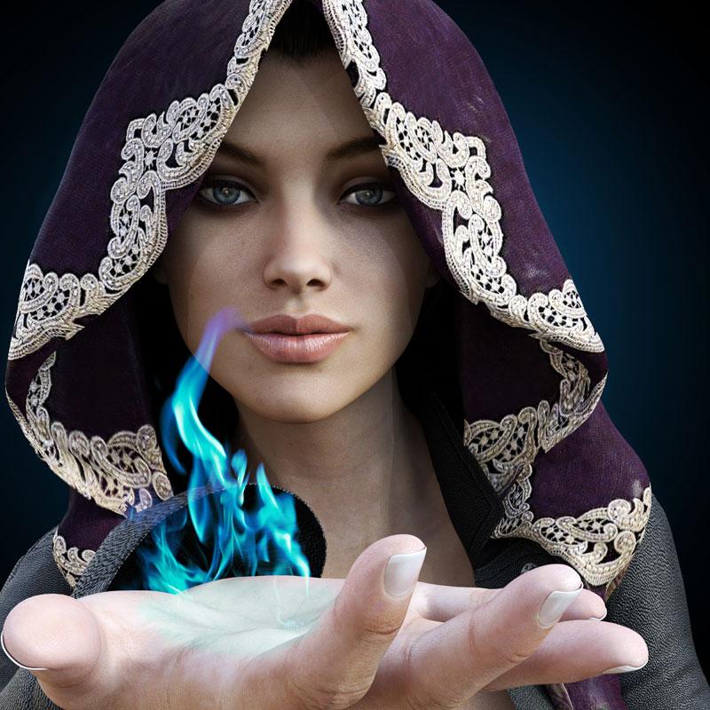 מכשפה מחזיקה להבה