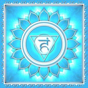 צאקרת הגרון - תמונת סמל הצקרה כפרח עם 16 עלי כותרת על רקע כחול תורכיז