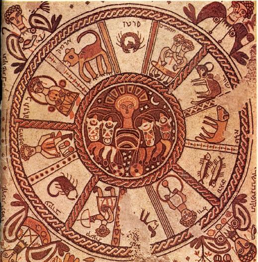 גלגל המזלות בפסיפס שהתגלה בבית הכנסת בבית אלפא.
