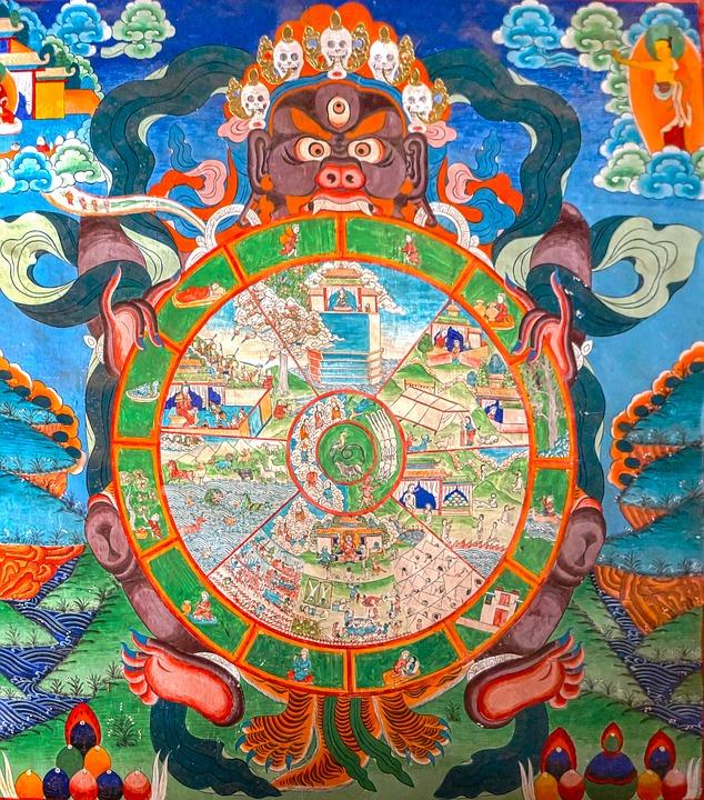 תמונה של בהווה צ'קרה, מעגל הסבל הבודהיסטי מתאר את הדרמה הקוסמית של לידה ומוות ומתוחזקת על ידי בורות, רק אדם שפיתח מודעות עצמית גדולה וחמלה יכול להשתחרר מדרמת הסבל הגדולה