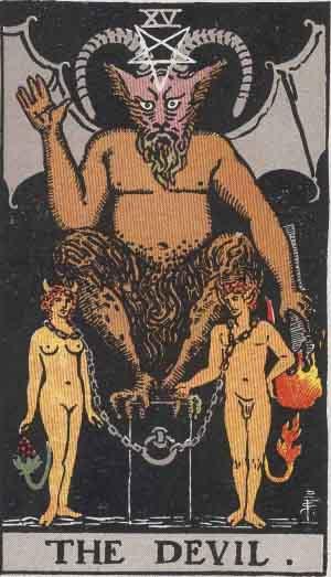 קלף השטן מיצג את הצד השלילי של העין השלישית - אינטליגנציה ללא חוכמה, או שכל בשרות האגו האנוכי